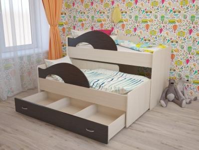 Кровать выкатная Радуга с ящиками дуб-венге
