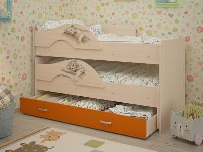 Кровать выкатная Радуга-Сафари с ящиками дуб-оранж
