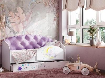 Кровать Звездочка фиолетовый с бортиком на щитах