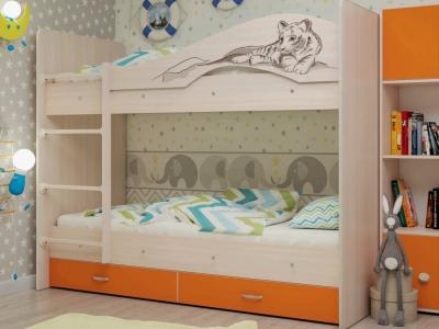 Кровать двухъярусная Мая-Сафари с ящиками дуб-оранж