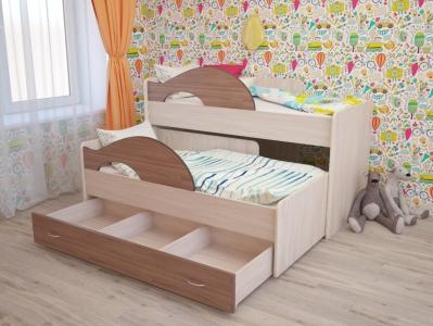 Кровать выкатная Матрешка с ящиками ясень шимо