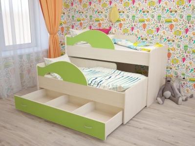Кровать выкатная Матрешка с ящиками зеленая