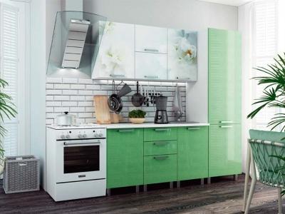 Кухонный гарнитур Бьянка 2100 салатовые блестки/фотопечать