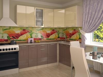 Кухонный гарнитур угловой Волна ваниль глянец капучино 2000х1400