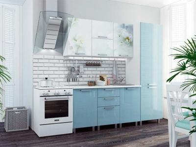 Кухонный гарнитур Бьянка 2100 голубые блестки/фотопечать