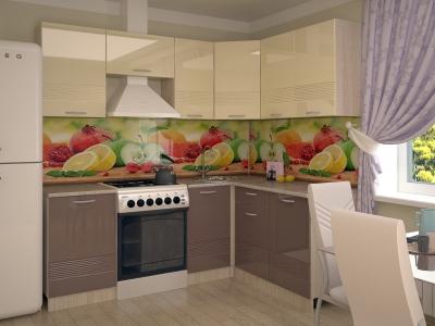 Кухонный гарнитур Волна ваниль глянец капучино 2100х1600