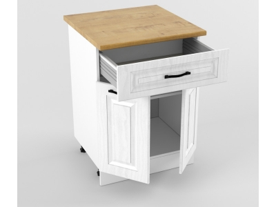 Нижний шкаф Н 600 1 ящик 2 двери 850х600х600 Белый Вегас