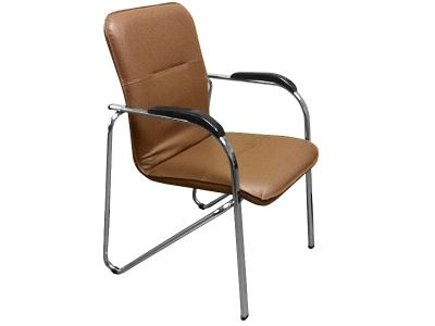 Офисный стул Самба хром орех Скаден коричневый