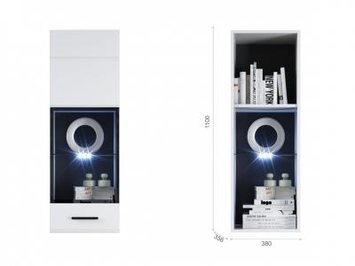 Пенал-витрина Йорк навесная (01) ПР Белый/белый глянец