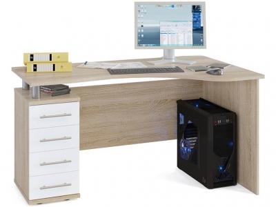 Письменный стол Сокол КСТ-104.1 левый Дуб Сонома/Белый