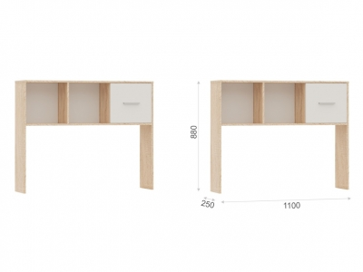 Полка-надставка Стелс 110 Дуб сонома/белый