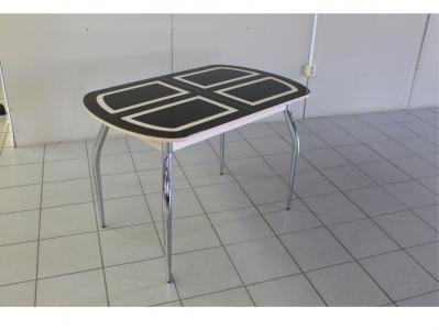 Раскладной стол со стеклом Голд коричнево-бежевый