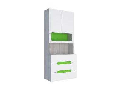 Стеллаж с ящиками Палермо-Юниор зеленая вставка 902х2110х445 мм
