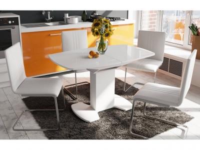 Стол обеденный Портофино СМ(ТД)-105.02.11(1) Белый глянец, стекло