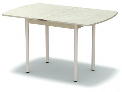 Стол обеденный раскладной закругленный Венециано - ноги белые