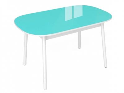 Стол обеденный Винтаж с глянцевым стеклом бирюза