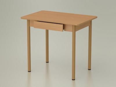 Стол обеденный закругленный с ящиком Бук Бавария - ноги бежевые