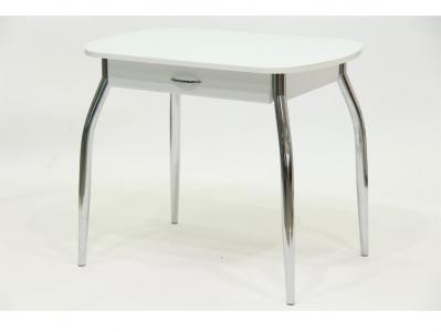 Стол со стеклом Гала 10 с ящиком белый белый