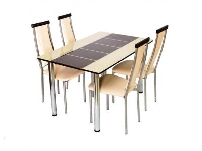 Стол со стеклом Леон бежево-коричневый