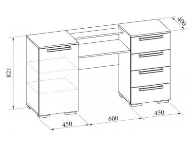 Стол-туалетный без зеркала Лагуна-2 ЛДСП 1500х821х400