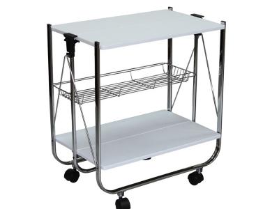 Столик сервировочный складной на колесиках SC-5119-MDF Белый