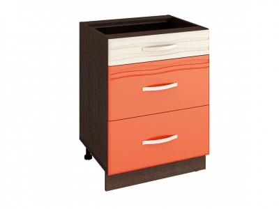 Стол с 3 ящиками плавное закрывание 09.91 Оранж 600х530х820