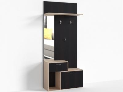 Тумба 1 ящик 900 зеркало слева Крокус ПР-Т-1-6 900х330х2100 Дуб Миланский - Дуб девонширский
