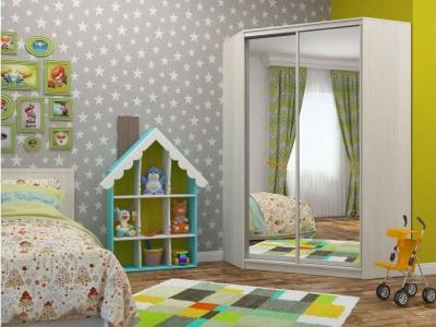 Угловой шкаф-купе Елена с 2-мя зеркалами бодега светлая