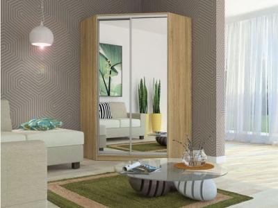 Угловой шкаф-купе Елена с 2-мя зеркалами дуб сонома
