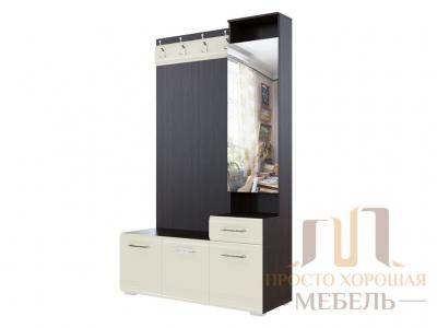 Вешалка с зеркалом 1966 (1,2м) СВ No 1 Дуб венге/Жемчуг
