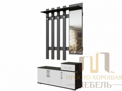Вешалка с зеркалом СВ No 3 1,2 м Венге/Ясень Анкор светлый